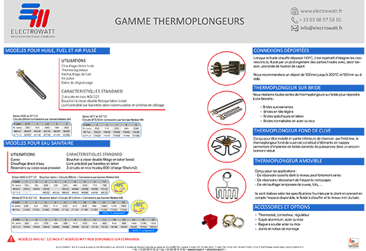 Brochure PDF - Gamme de thermoplongeurs